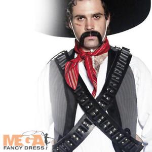 Bandolier Leather Bullet Belt Adult Fancy Dress Western Bandit