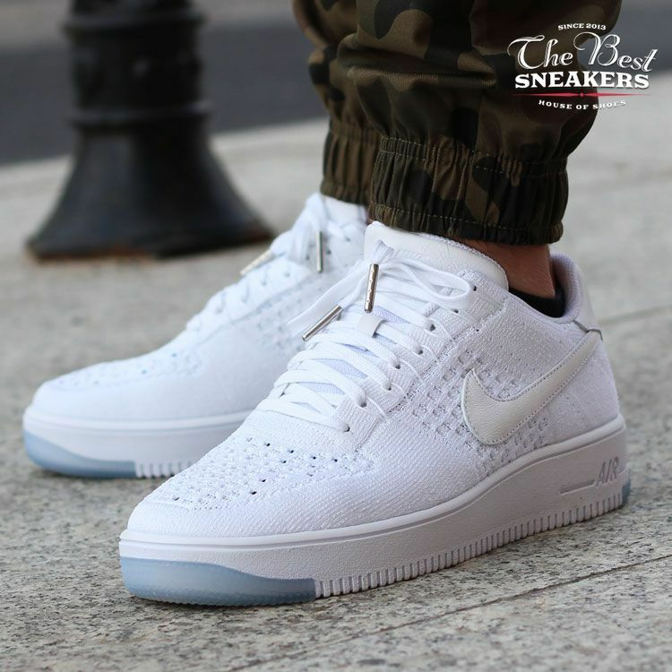 6670fe347ffb7 cheap NIKE AIR FORCE 1 FLYKNIT LOW MENS 817419-100 WHITE WHITE ICE ...