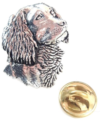 Spaniel/'s Head Handcrafted in Solid Pewter In UK Lapel Pin Badge A5