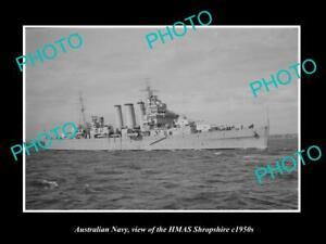 OLD-POSTCARD-SIZE-PHOTO-OF-AUSTRALIAN-NAVY-SHIP-HMAS-SHROPSHIRE-c1950