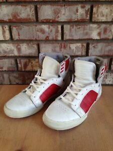Mens Supra Muska 001 Skytop Red   White Leather Shoes US Size 10  c2b4494952