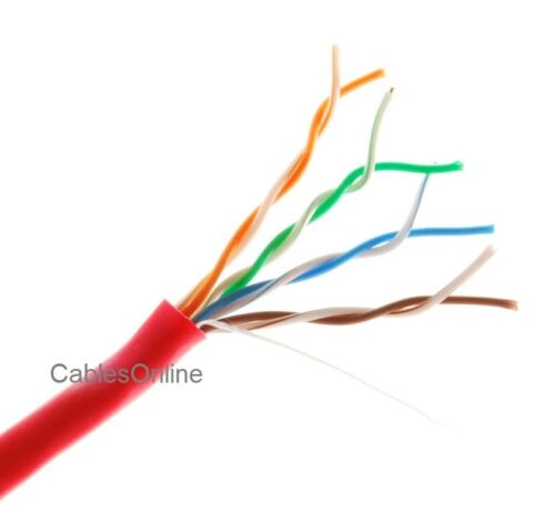 Red Riser Rated CMR Bulk Cable 250ft Cat5e 350MHz UTP 24AWG solid pure copper