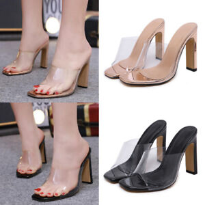 Ladies-Women-High-Block-Heels-Perspex-Mules-Open-Toe-Slip-On-Celar-Sandals-Shoes
