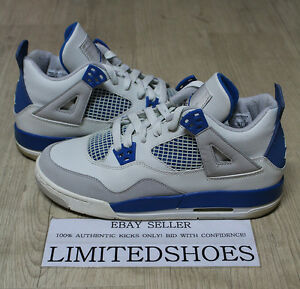 014350bd4da8 NIKE AIR JORDAN 4 IV RETRO GS WHITE MILITARY BLUE 308498-141 US 6Y ...