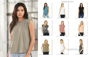 a77068733b16f NEW! Bella+Canvas Women s Flowy Relaxed Fit Muscle Tee Rolled Cuffs ...