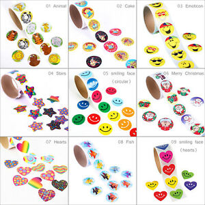 100-pcs-Roll-Stickers-Adhesive-Valentines-Day-Funky-Love-Heart-Smiling-Face