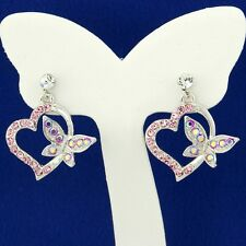 BUTTERFLY HEART EARRINGS MADE WITH SWAROVSKI CRYSTAL LOVE PINK NEW STUD JEWELRY