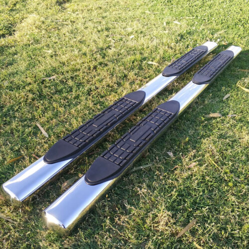 """Fit 09-14 Ford F150 Super Crew Cab 4/"""" Running Boards Side Step Nerf Bar S//S Oval"""