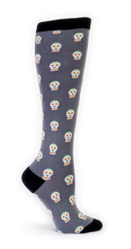 New Sock it to Me Knee High Socks Funky DAY OF THE DEAD Halloween Skulls grey