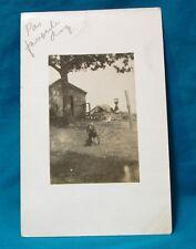 UNPOSTED c1910 RPPC Real Photo Postcard DOG & TRAILER WAGON House CALEDONIA MI