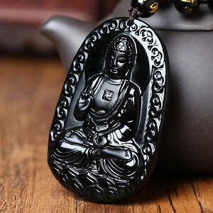 Natural-A-Black-Obsidian-Carved-Buddha-Pendant-Chain-Necklace-Rope-Gift-For-Men