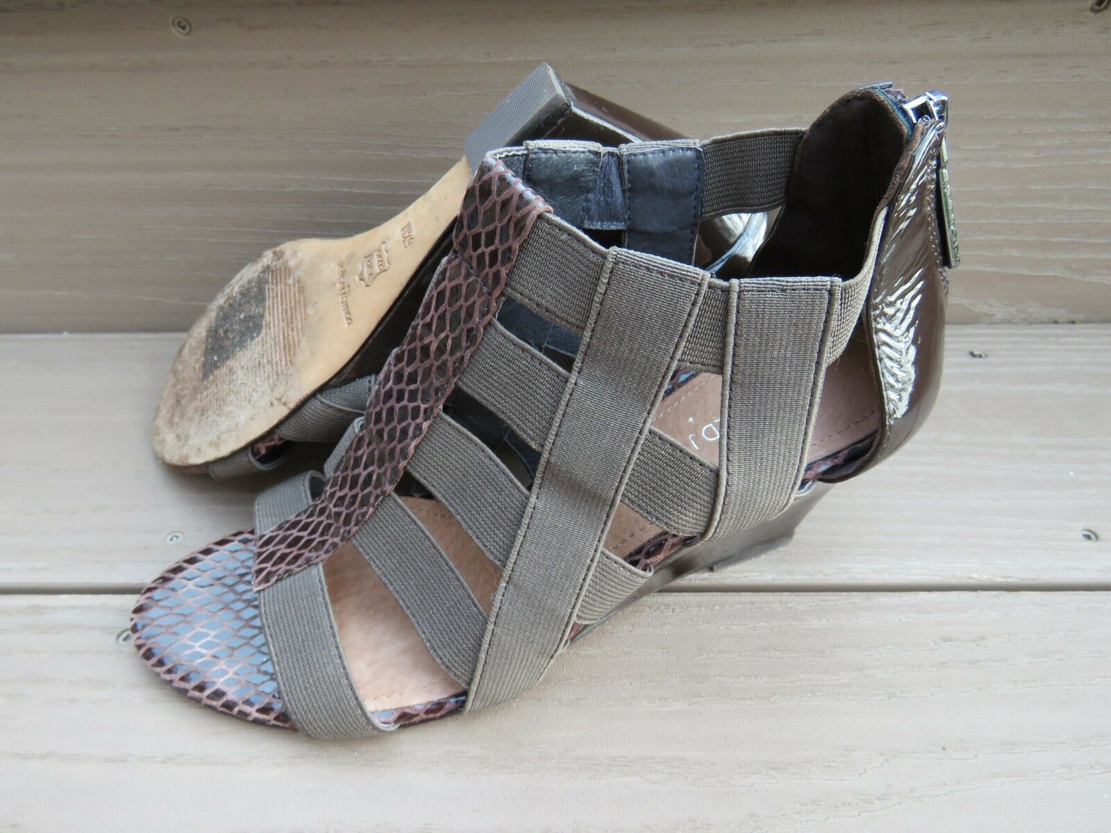 DONALD J PLINER Pira Brown Patent Strappy Wedge Sandals shoes Women's US 6.5