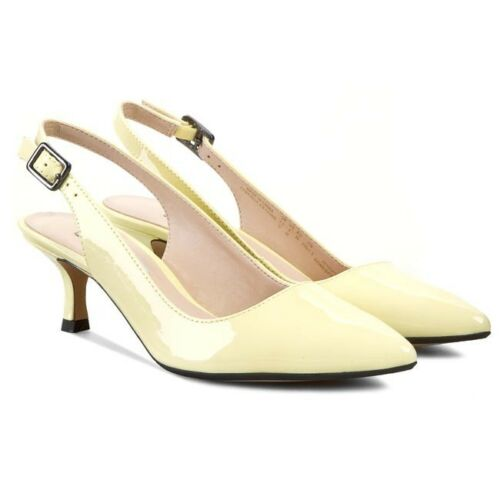 Correa Heel 5 Low Leather Pale Bnib Patent Yellow Shoes Strap Clarks Sz Smart 6 nZ8YqU