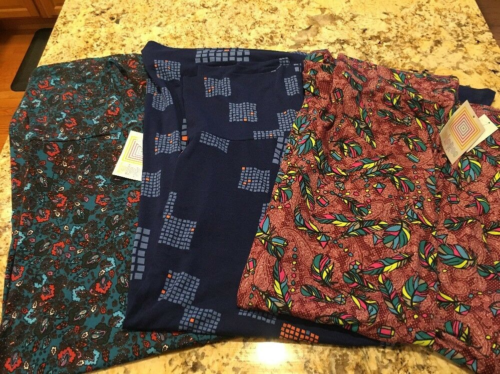 New LuLaRoe Maxi Skirt Lot Of 3 Floral Feathers Geometric Size Large NWT