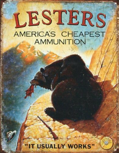 Lester/'s Bear Hunting Tin Metal Sign 13 x 16in