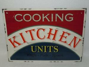 Cooking-Kitchen-Units-Knife-Fork-Spoon-Reproduction-Tin-Wall-Sign-15in-x-11in