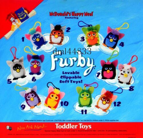 2000 McDonald's Furby MIP Complete Set - Lot of 12, Boys & Girls, 3+