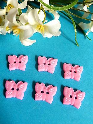 "455b / Encantador Botones ""mariposa"" Rosa Claro 6 Boutons Bebe Recortes"