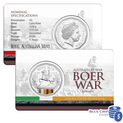 BOER WAR COLOURED COIN ON CARD 2014 UNC 50c AUSTRALIA AT WAR