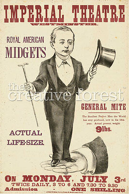 ROYAL AMERICAN MIDGETS Vintage Freak Show Poster CANVAS ART PRINT 24x34 In