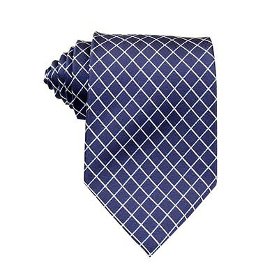 Navy Blue White Checked 100%Silk Jacquard Classic Woven Man's Tie Necktie BP58