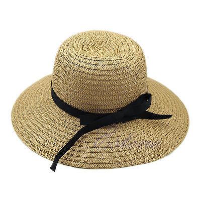 Fashion Summer Women Wide Brim Beach Sun Hat Straw Floppy Elegant Bohemia Cap