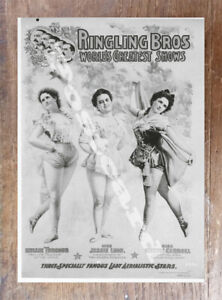 Historic-Millie-Turnour-Jessie-Leon-Nettie-Carroll-Circus-Ad-Postcard
