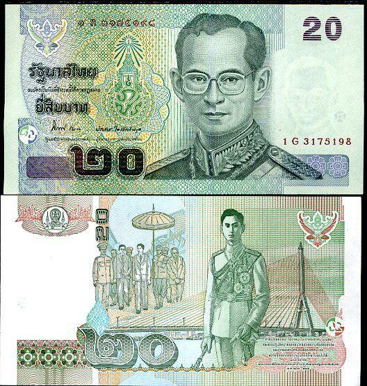 THAILAND 20 BAHT 2003 (2012) P 109 NEW SIGN 84 UNC