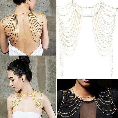 Style Fashion Women Jewelry Gold Black Tassels Link Body Shoulder Chain Necklace