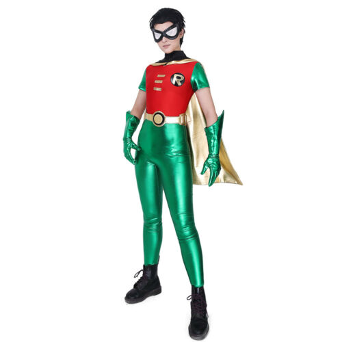 Robin Cosplay Costume Halloween Jumpsuit Cape+Gloves+Mask+Belt