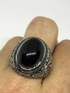 Vintage-Silver-Stainless-Steel-Black-Onyx-Size-12-Men-039-s-Gothic-Ring