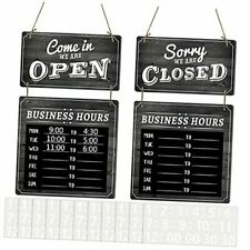 Business Hours Hanging Chalkboard Open And Closed Door Sign Double Black Board