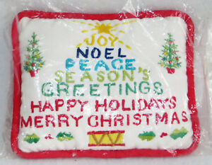 Silvestri-Christmas-Needlepoint-Door-Hanger-Pillow-5-034-Ornament-Joy-Noel-Tree-New