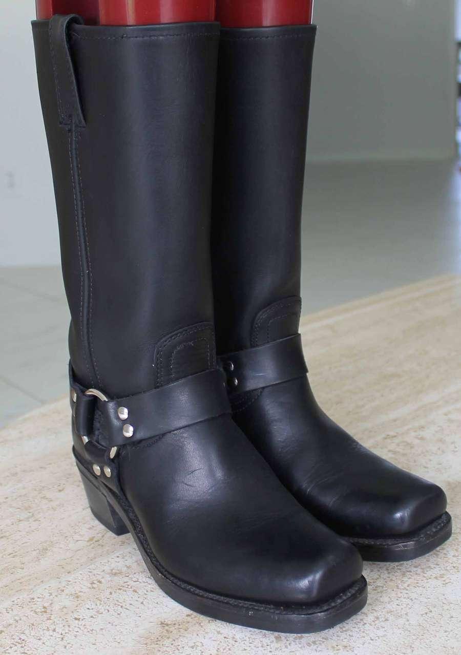 Frye Arnés De Cuero Vintage Negro botas botas botas Mujer Tamaño nos 7 Med  comprar ahora
