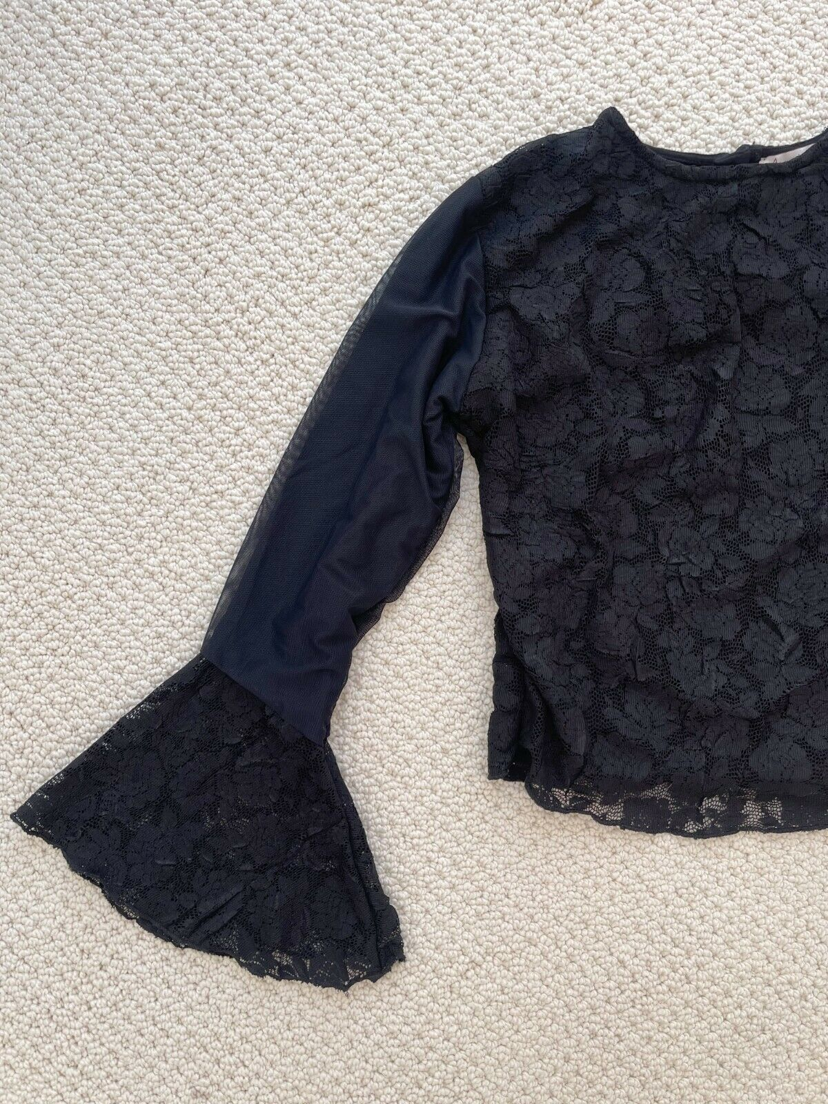 ANNA MEYER Paris Black Lace Blouse Top with Flare… - image 2