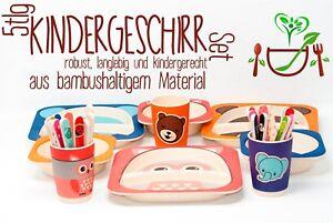 Kindergeschirr-Babygeschirr-Set-Bambus-5-tlg-Service-QIRI-verschiedene-Motive