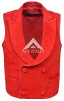 Men's Edwardian Red Steam Punk Victorian Real Soft Suede Leather Waistcoat Vest