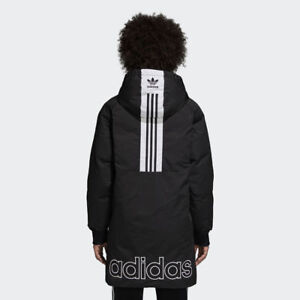 7bbeab642527 New Adidas Original Womens LONG DUCK DOWN JACKET BLACK DH4573 PARKA ...
