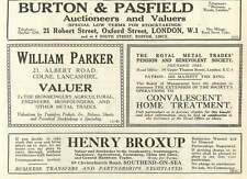 1926 Henry Broxup Southend-on-sea William Parker Colne Valuer Old Advert