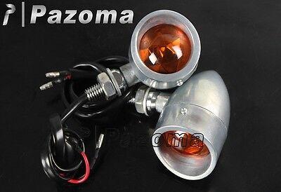 1 Pair Universal Motorcycle Polished Bullet Turn Signal Light Blinker Amber Lens