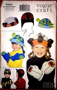 Kids-Hat-Mittens-Pattern-Spider-Lady-Bug-Turtle-Bumble-Bee-9983-Vogue