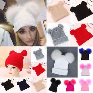 edb19bbc99551 Cute Hat Women Winter Beanie Warm Double Pom Cat Ear Crochet Knit ...