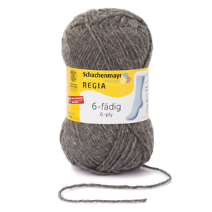 7,90 €//100g regia calcetines lana strumpfwolle 6 fädig 50g color 00044 gris medio