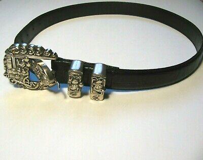 Vintage 90s Brighton Black Leather Disney Belt