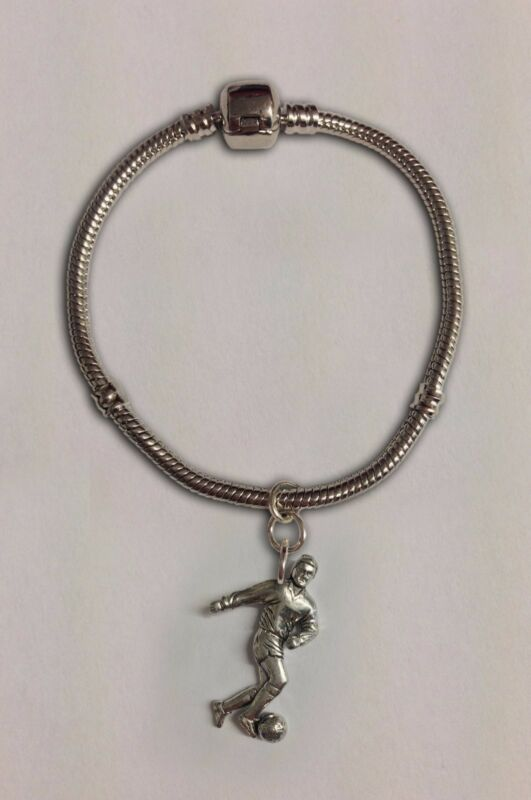 Code S4 Footballer Charm On A Silver Rhodium Plated Snake Bracelet