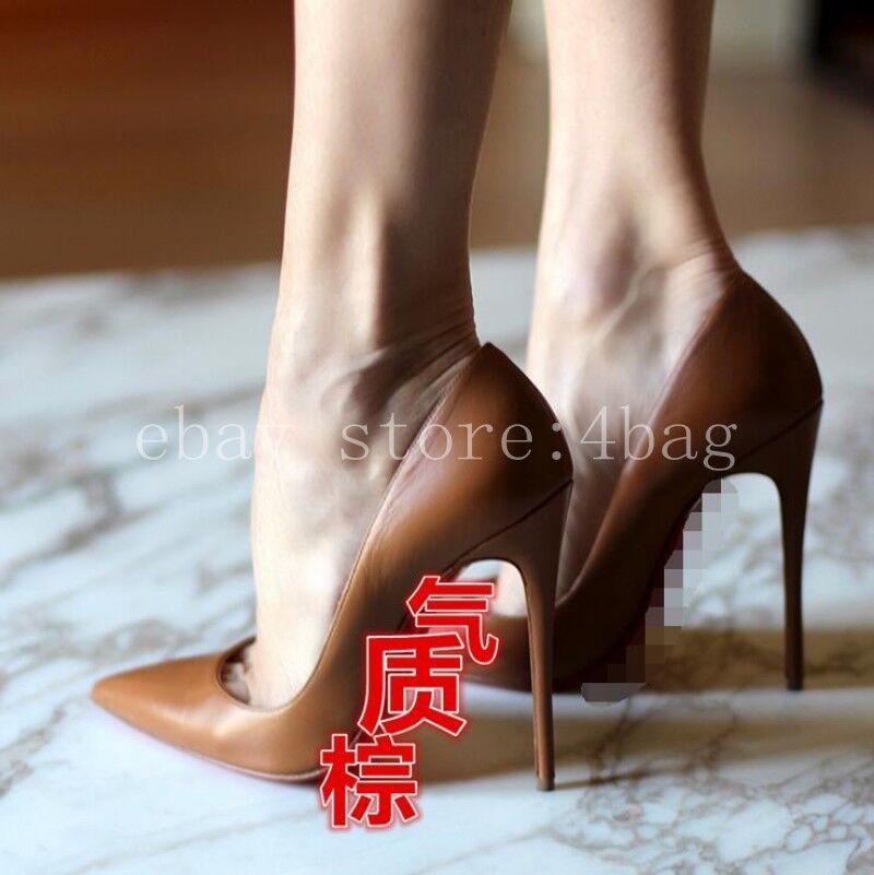 POMPE a Punta Donna Tacco Alto Pelle di Pecora Club Matrimonio Formale Scarpe Pompe