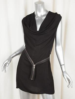 HELMUT LANG Womens Black Cowl Neck Zipper Belt Sleeveless Shift Dress 6