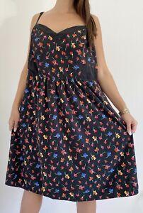 CITY-CHIC-Black-Multi-Floral-Print-A-line-Midi-Dress-Plus-Size-XL-AU-22-Party