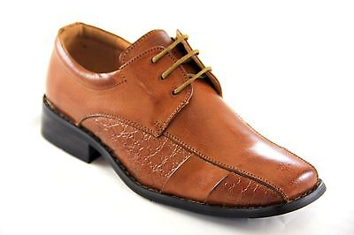 La Milano Boy's Tan Genuine Leather Oxford Dress Shoes Style# AT922004