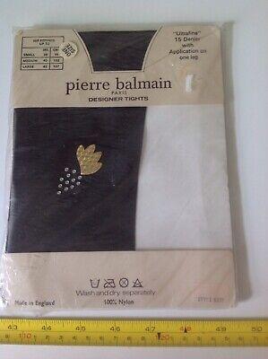 Analitico Designer Vintage Retrò 80s Pierre Balmain Nero Collant Con Motivo Nylons Nuovo Con Confezione Nuovo-mostra Il Titolo Originale